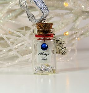 The personalised Christmas Wish 'wish bottle' for the tree